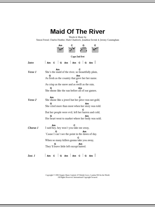 Maid Of The River sheet music for guitar solo (chords, lyrics, melody) by Stephen Ryan