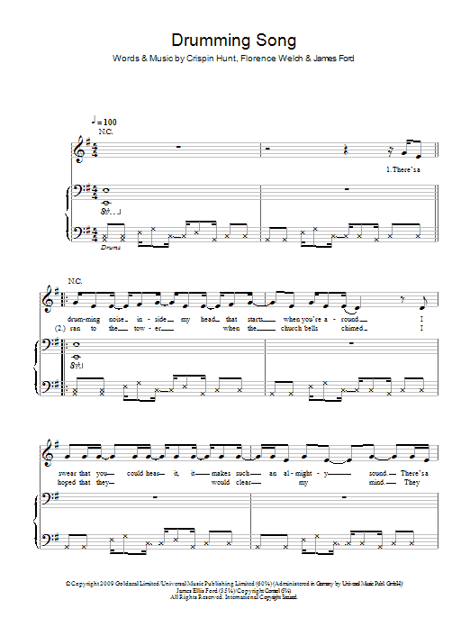 Drumming Song sheet music for voice, piano or guitar by James Ford