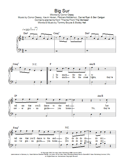 Big Sur sheet music for piano solo (chords) by Padraic McMahon