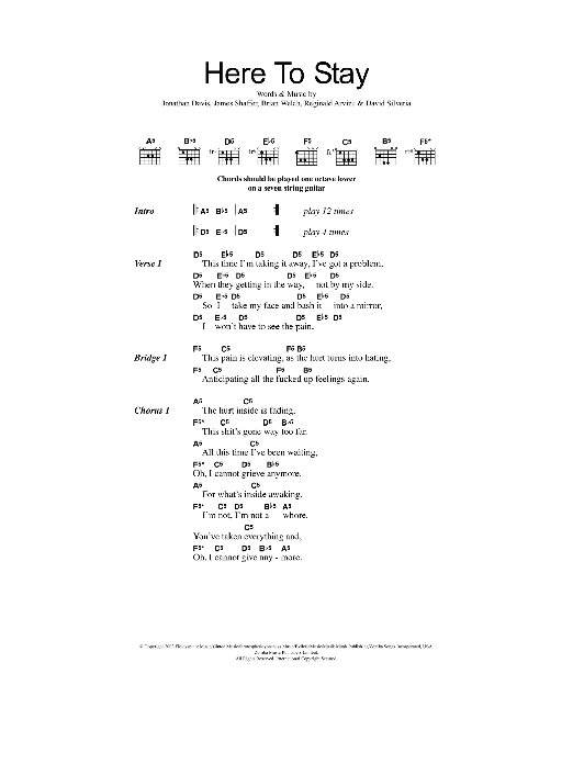 Here To Stay sheet music for guitar solo (chords, lyrics, melody) by Reginald Arvizu