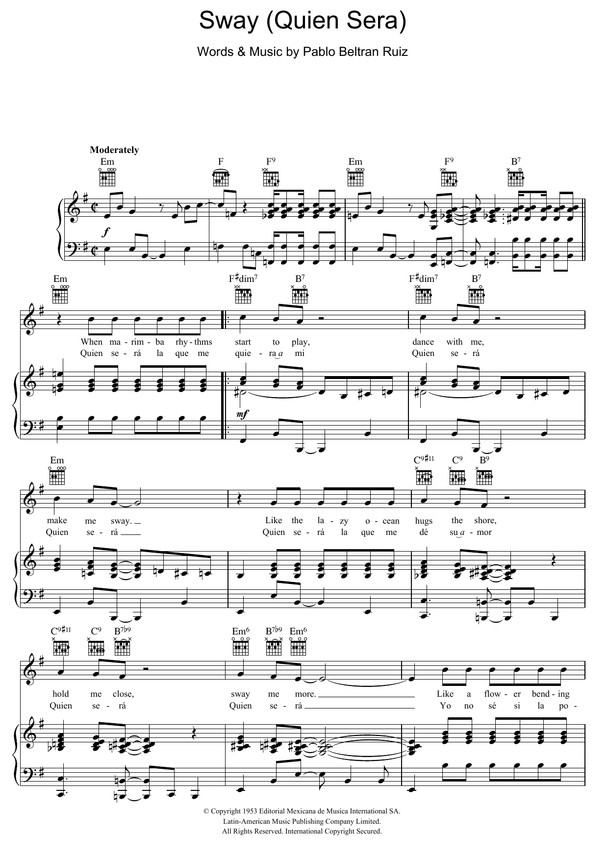 Sway (Quien Sera) sheet music for voice, piano or guitar by Pablo Beltran Ruiz