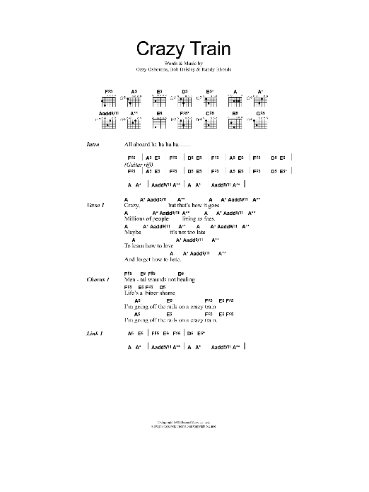 Crazy Train sheet music for guitar solo (chords, lyrics, melody) by Randy Rhoads
