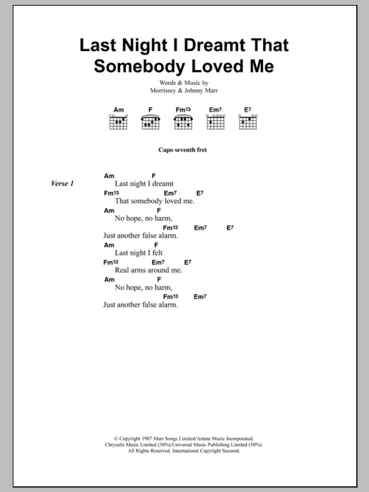 last night i dreamt that somebody loved me lyrics:
