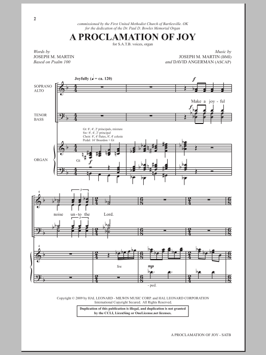 A Proclamation Of Joy sheet music for choir and piano (SATB) by David Angerman