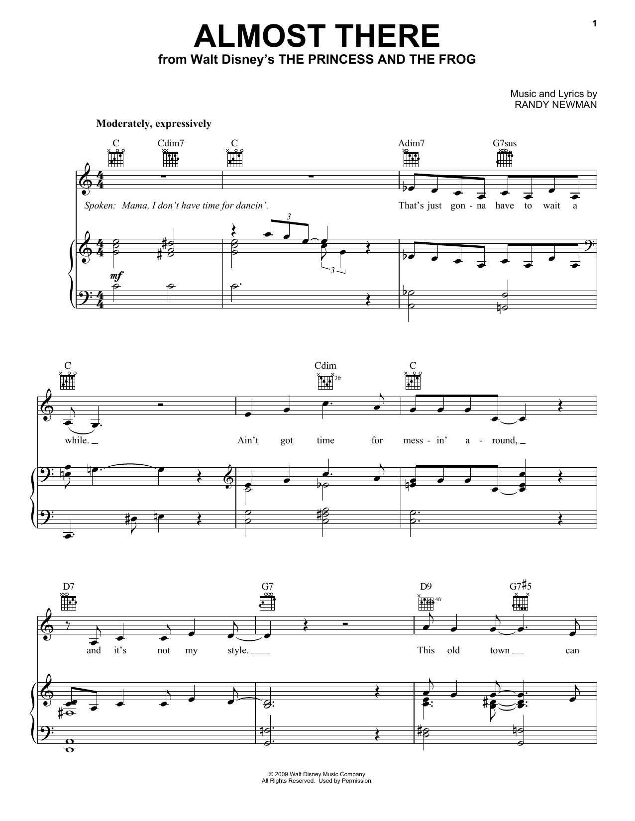Almost There sheet music for voice, piano or guitar by Anika Noni Rose
