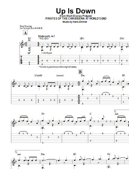 Tablature guitare Up Is Down de Hans Zimmer - Tablature guitare facile