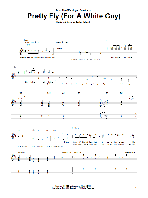 Tablature guitare Pretty Fly (For A White Guy) de The Offspring - Tablature Guitare