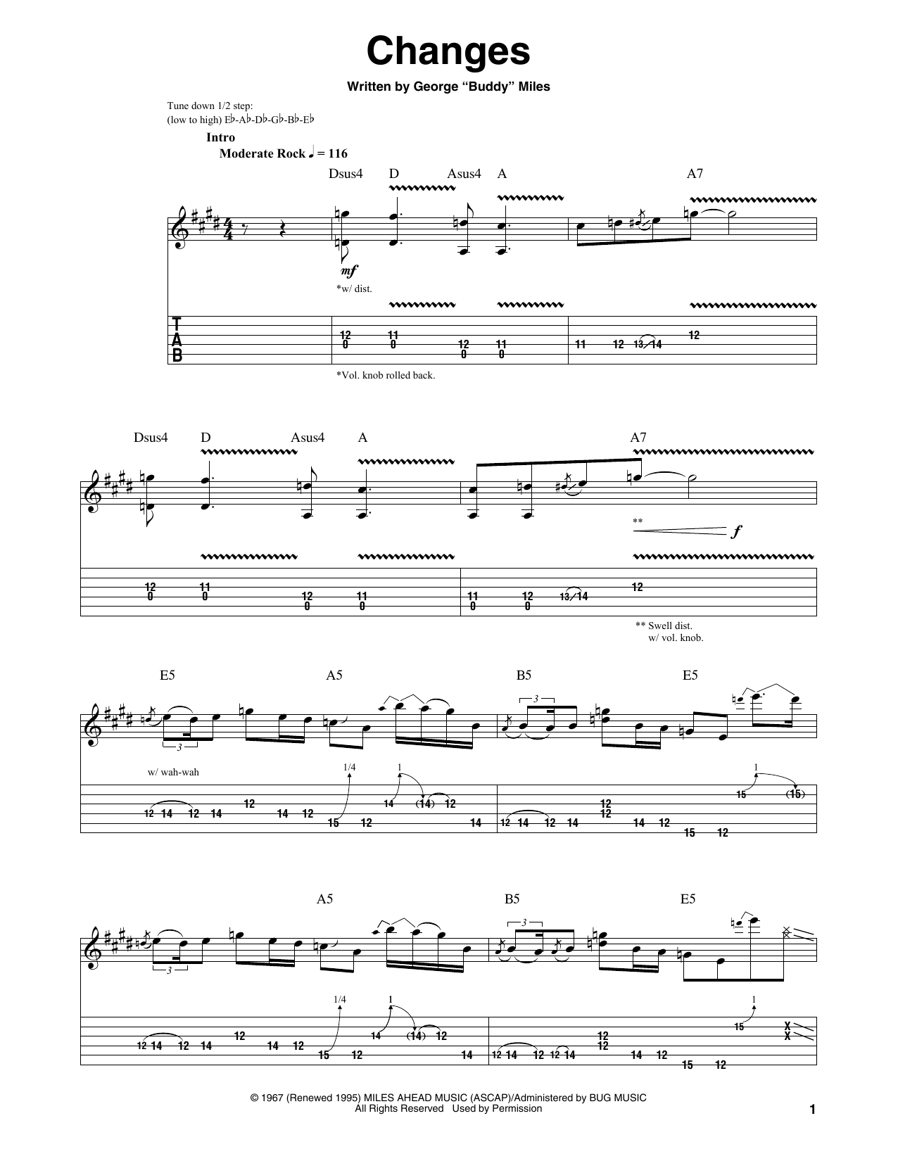 Tablature guitare Changes de Jimi Hendrix - Tablature Guitare