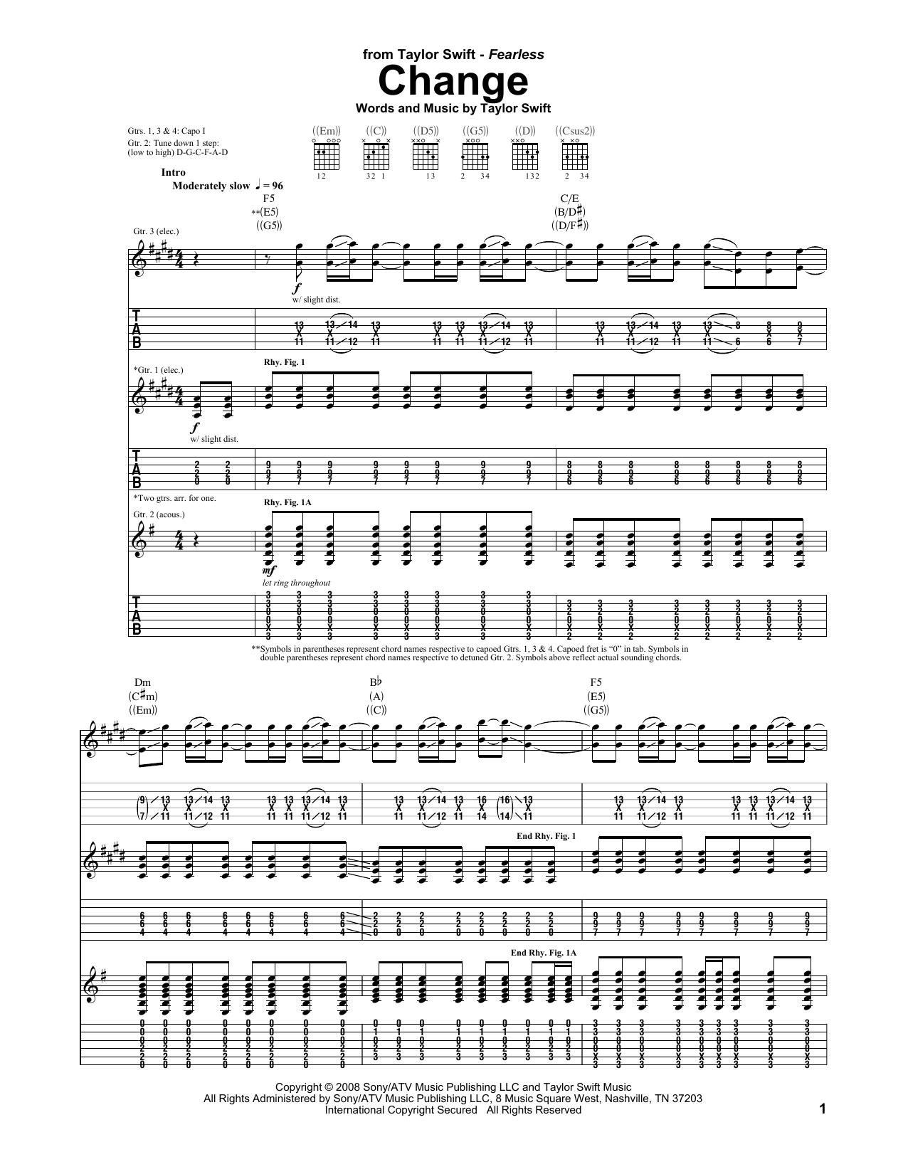 Tablature guitare Change de Taylor Swift - Tablature Guitare