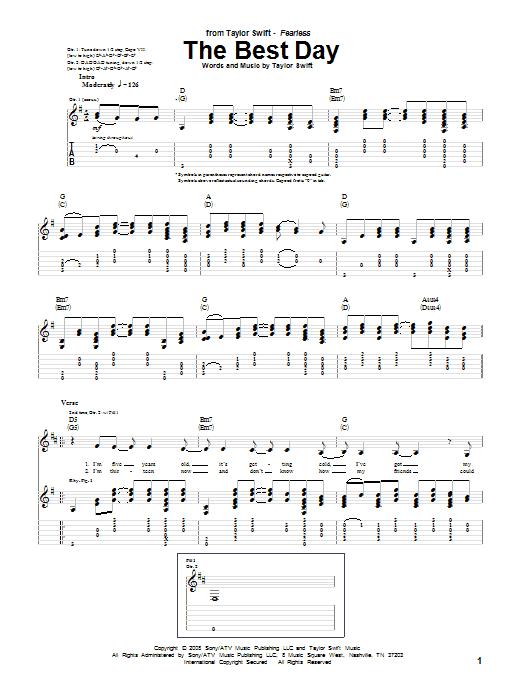 Tablature guitare The Best Day de Taylor Swift - Tablature Guitare