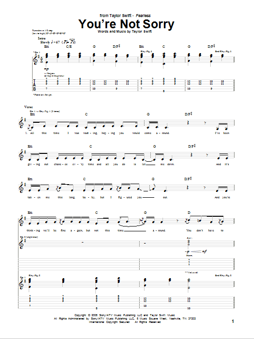 Tablature guitare You're Not Sorry de Taylor Swift - Tablature Guitare