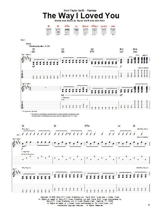 Tablature guitare The Way I Loved You de Taylor Swift - Tablature Guitare