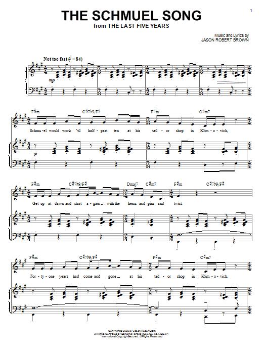 Partition piano The Schmuel Song de Jason Robert Brown - Piano Voix Guitare (Mélodie Main Droite)