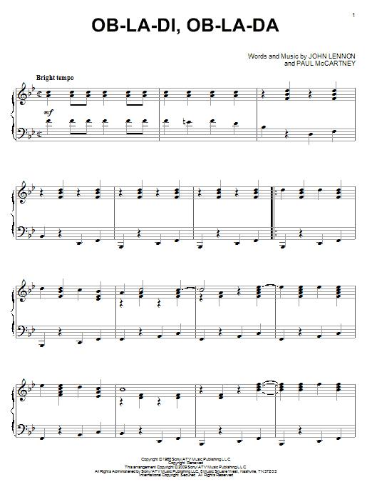 Partition piano Ob-La-Di, Ob-La-Da de The Beatles - Piano Solo