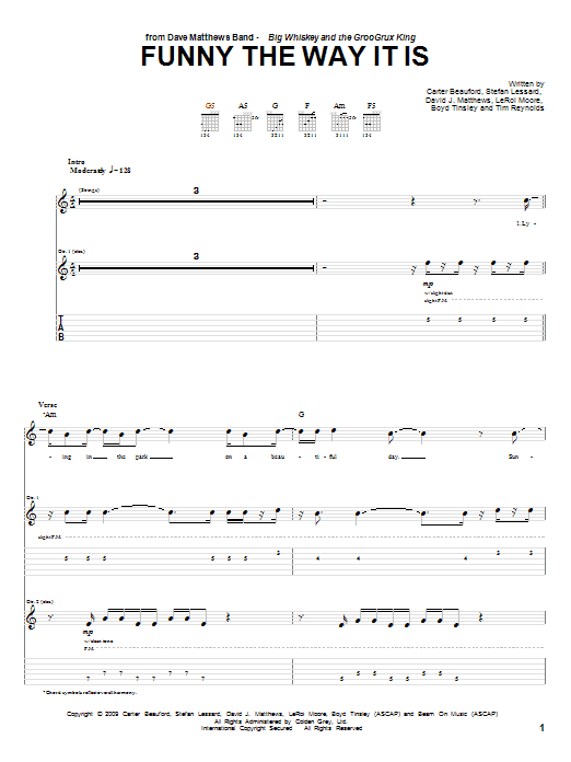 Tablature guitare Funny The Way It Is de Dave Matthews Band - Tablature Guitare
