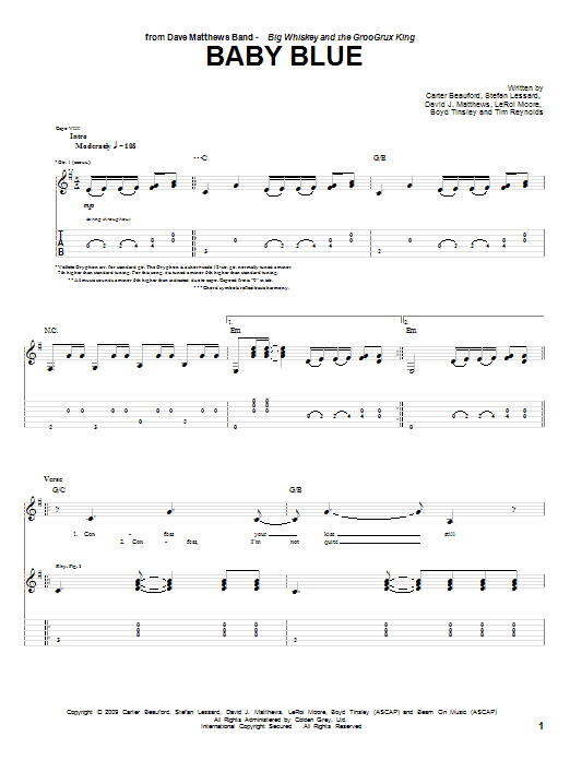 Tablature guitare Baby Blue de Dave Matthews Band - Tablature Guitare
