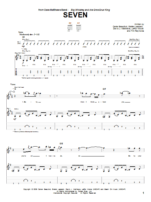 Tablature guitare Seven de Dave Matthews Band - Tablature Guitare