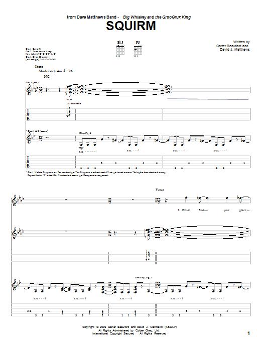 Tablature guitare Squirm de Dave Matthews Band - Tablature Guitare