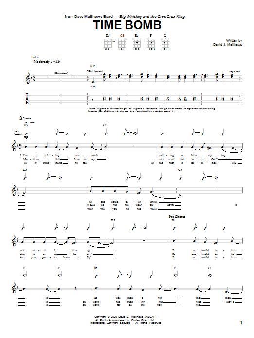 Tablature guitare Time Bomb de Dave Matthews Band - Tablature Guitare