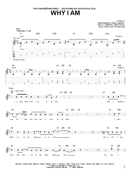 Tablature guitare Why I Am de Dave Matthews Band - Tablature Guitare