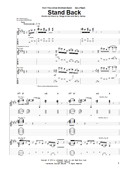 Stand Back sheet music for guitar solo (tablature) by Berry Oakley