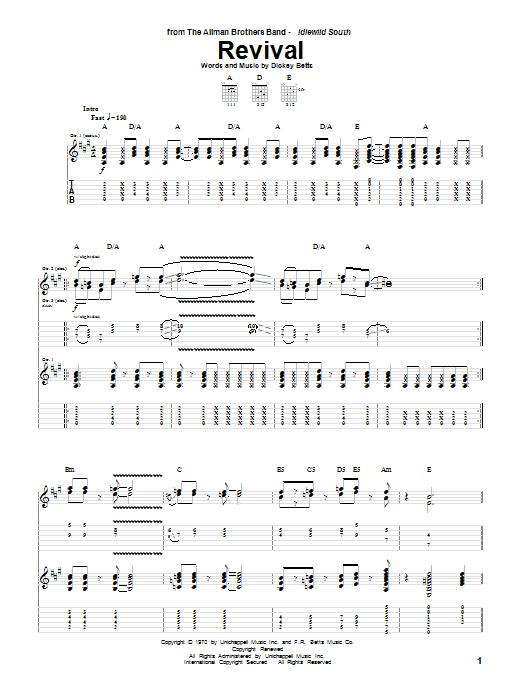 Tablature guitare Revival de The Allman Brothers Band - Tablature Guitare