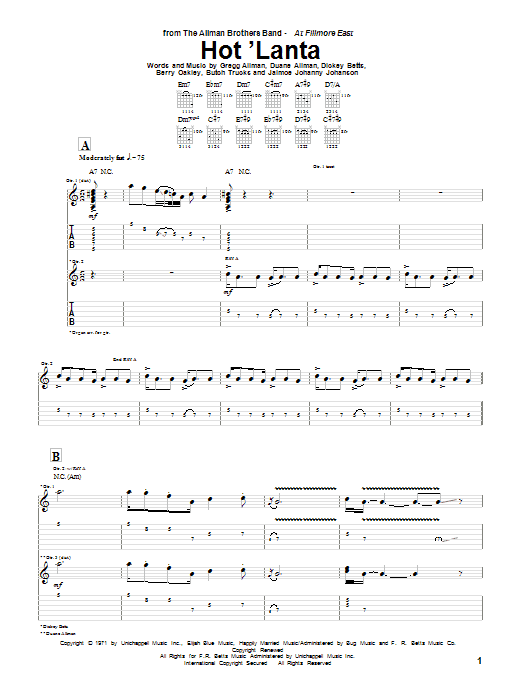 Tablature guitare Hot 'Lanta de The Allman Brothers Band - Tablature Guitare