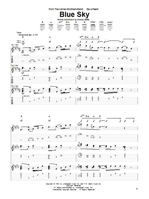 Tablature guitare Blue Sky de The Allman Brothers Band - Tablature Guitare