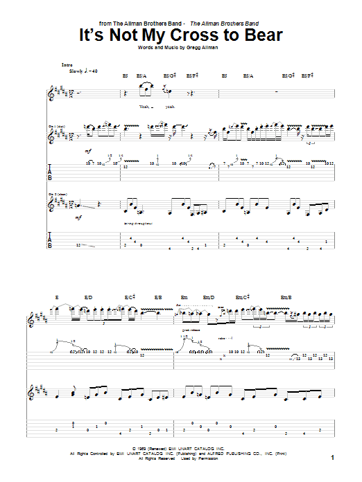 It's Not My Cross To Bear sheet music for guitar solo (tablature) by Allman Brothers Band
