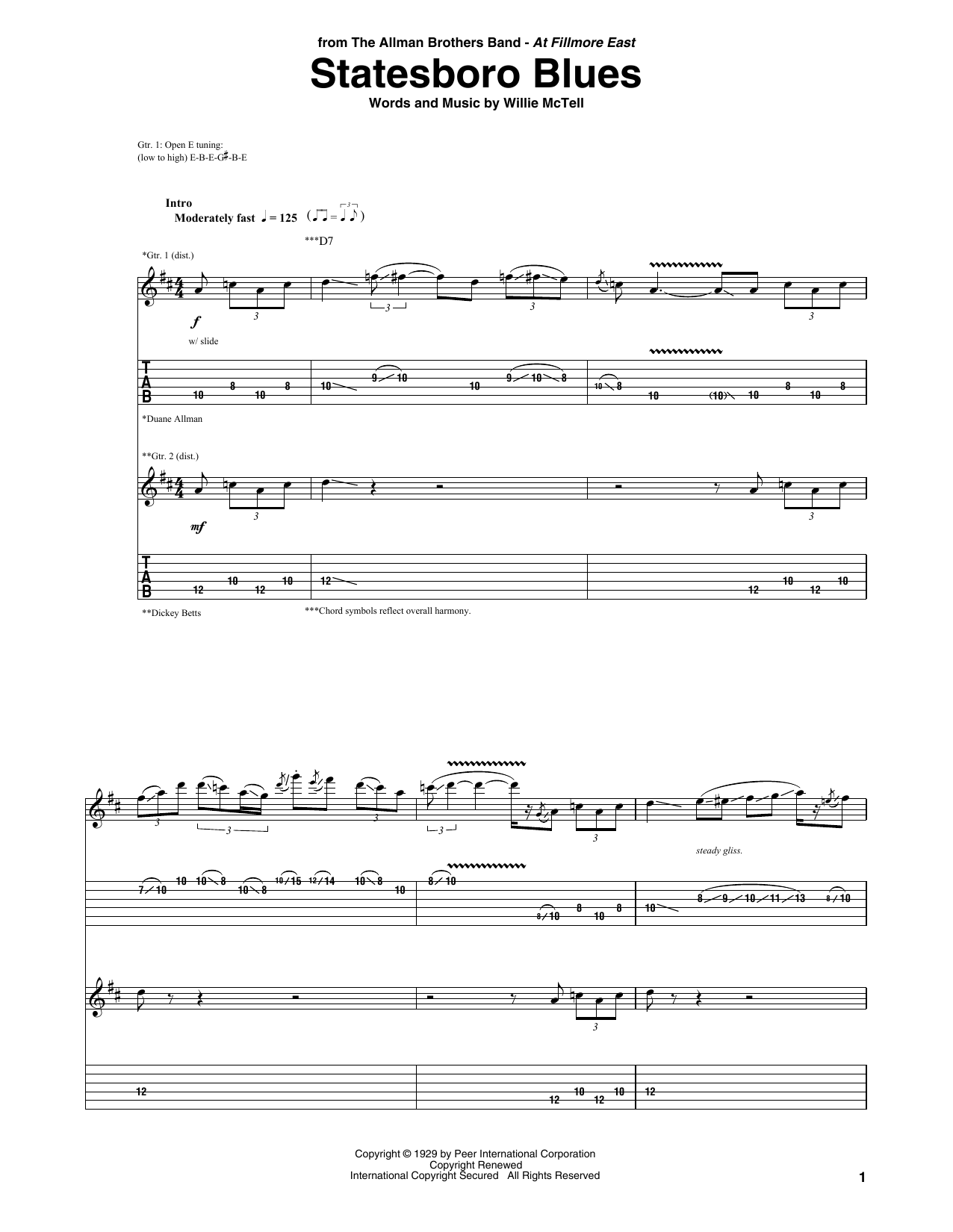 Tablature guitare Statesboro Blues de The Allman Brothers Band - Tablature Guitare