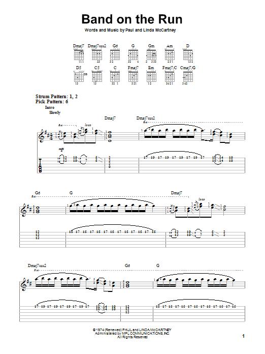 Tablature guitare Band On The Run de Paul McCartney & Wings - Tablature guitare facile