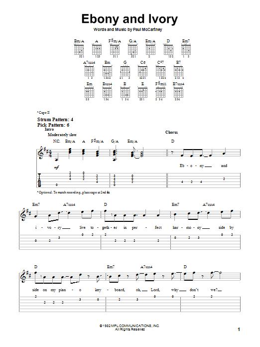 Tablature guitare Ebony And Ivory de Paul McCartney and Stevie Wonder - Tablature guitare facile