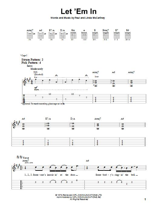 Tablature guitare Let 'Em In de Paul McCartney & Wings - Tablature guitare facile