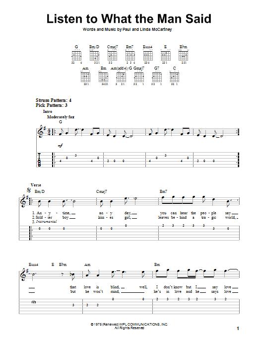 Tablature guitare Listen To What The Man Said de Paul McCartney & Wings - Tablature guitare facile