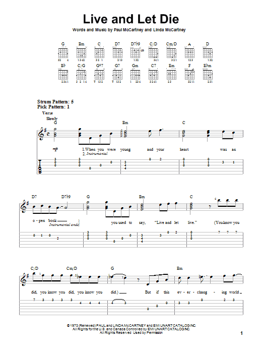 Live And Let Die sheet music for guitar solo (easy tablature) by Linda McCartney