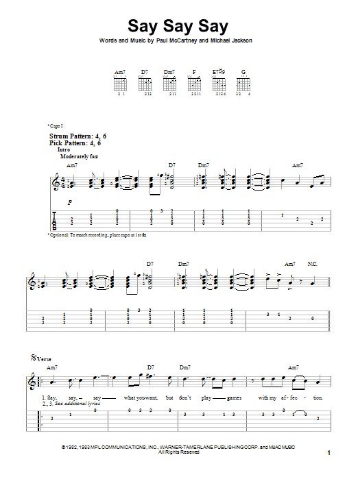 Tablature guitare Say Say Say de Paul McCartney and Michael Jackson - Tablature guitare facile