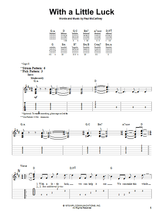 Tablature guitare With A Little Luck de Paul McCartney & Wings - Tablature guitare facile