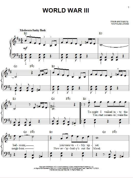 Sheet Music Digital Files To Print Licensed Jonas Brothers Digital