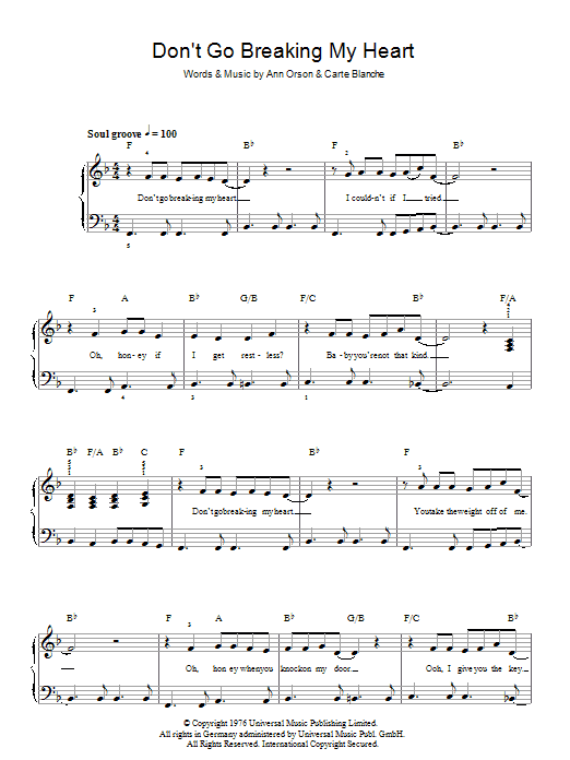 Don't Go Breaking My Heart sheet music for piano solo (chords) by Carte Blanche
