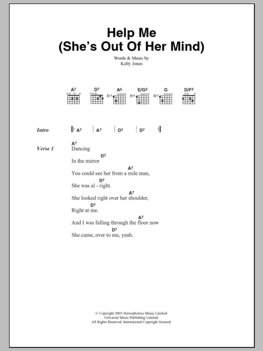 Help Me (She's Out Of Her Mind) sheet music for guitar solo (chords, lyrics, melody) by Kelly Jones