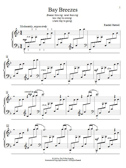Partition piano Bay Breezes de Randall Hartsell - Piano Facile