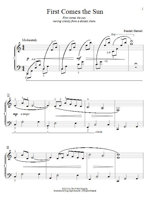 Partition piano First Comes The Sun de Randall Hartsell - Piano Facile