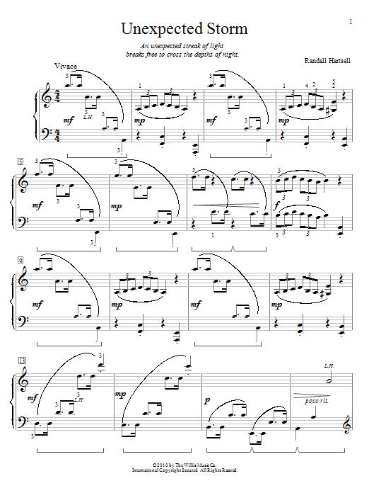 Partition piano Unexpected Storm de Randall Hartsell - Piano Facile