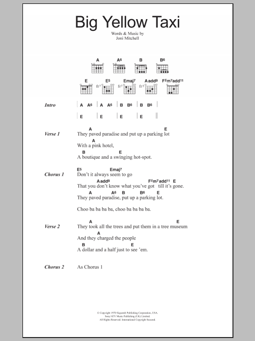 Big Yellow Taxi sheet music for guitar solo (chords, lyrics, melody) by Joni Mitchell