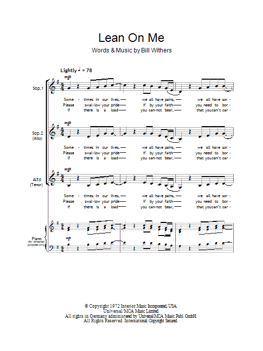 Lean On Me sheet music for choir and piano (SSA) by Bill Withers