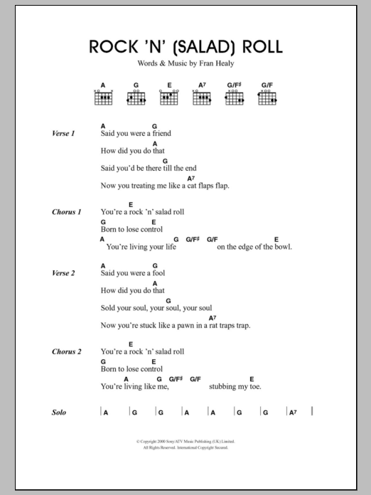 Rock 'n' (Salad) Roll sheet music for guitar solo (chords, lyrics, melody) by Fran Healy