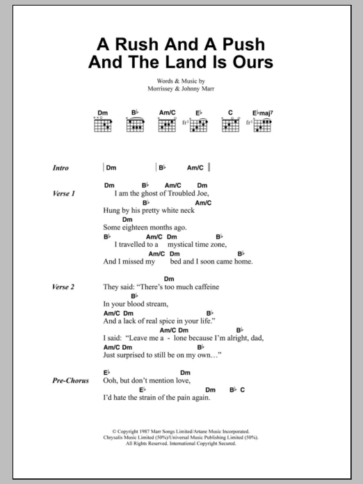Sheet Music Digital Files To Print - Licensed The Smiths Digital ...