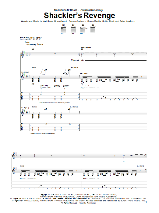 Tablature guitare Shackler's Revenge de Guns N' Roses - Tablature Guitare