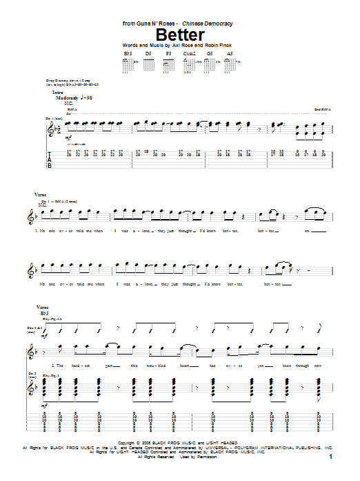 Better sheet music for guitar solo (tablature) by Robin Finck