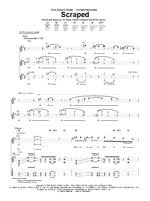 Tablature guitare Scraped de Guns N' Roses - Tablature Guitare